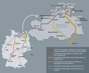 Direktverbindungen nach/von Binz auf Rügen: Ankommen, ohne umzusteigen. Karte: DB Fernverkehr AG, Reiner Schröder.