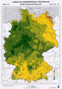 Sonnenscheindauer im Jahresmittel. Quelle: Mit freundlicher Genehmigung vom Deutschen Wetterdienst.