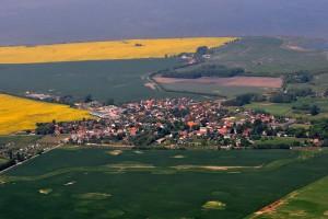Rambin während der Rapsblüte vom Süden aus gesehen. Im Hintergrund der Kubitzer Bodden. Foto: Wikimedia Commons