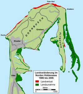 Der Neue Bessin auf Hiddensee ist zwischen 1989 und 2006 um 635 Meter (das sind etwa 45 Meter pro Jahr) gewachsen.Grafik: Wikimedia Commons.