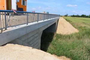 """Wofür diese Brücke? Keine Bahnlinie, keine Straße, keinen Bach oder Fluss überquert sie. Die Bauingenieure nennen sie """"Kammmolchbrücke"""". Sie dient einzig  dem Schutz von Amphibien. Im Winter krabbeln sie von den Feuchtgebieten jenseits der B 96n zum Schotterbett des Bahndamms und überstehen hier die frostigen Monate. Dieser Weg wäre ihnen ohne die """"Kammmolchbrücke"""" versperrt."""