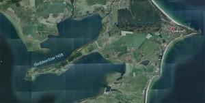 Das Reddewitzer Höft erstreckt sich westlich von Göhren in den Greifswalder Bodden. Bild: Google Earth.