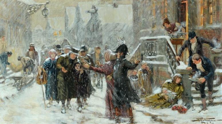 Flüchtlinge kamen schon immer: 1898 malte Fritz Neuhaus dieses Bild. Quelle Wikimedia Commons.